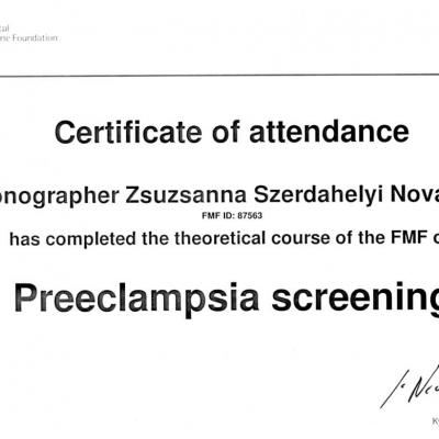 Certificate Of Attendance Preeclampsia Screening 2018