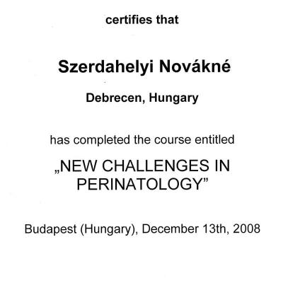 Certificate Of New Challenges In Perinatology